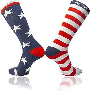 TCK Stars & Stripes USA American Flag Mismatch Soccer & Football Patriotic Athletic Socks