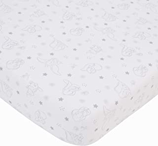 Disney Dumbo - Shine Bright Little Star Gray & White Fitted Crib Sheet, Grey, White