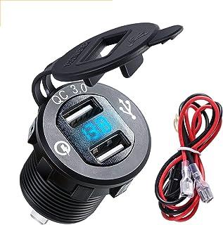Aluminium QC3.0 Dual USB Charger Socket Stopcontact met Digitale Voltmeter QC 3.0 + 5v/1.5A Dual Usb poort met LED Voltage...