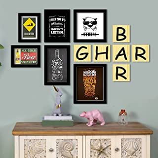 GHAR BAR - Set of 6 Art Print for home bar Painting with Printed Wall Sign for Home Decorations Size-5x7 , 6x8 , 6x10 , 8x...