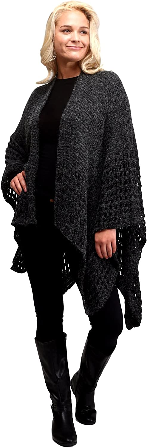 Solid Color Knit Crochet Sweater Poncho Shrug for Women (Black)
