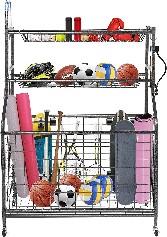 PEXMOR 国際ブランド 店 Sports Equipment Storage Rack Movab with Hooks Baskets