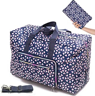 Womens Foldable Travel Duffel Bag 50L Large Cute Floral Travel Bag Hospital Bag Weekender Overnight Carry On Bag Checked Luggage Tote Bag For Girls Kids