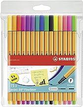 Rotulador punta fina STABILO point 88 - Estuche con 15 colores (5 fluor)