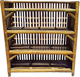 Decorate India Natural Finish Cane Bamboo Rack,Books & Shoes Rack, Kitchen Rack