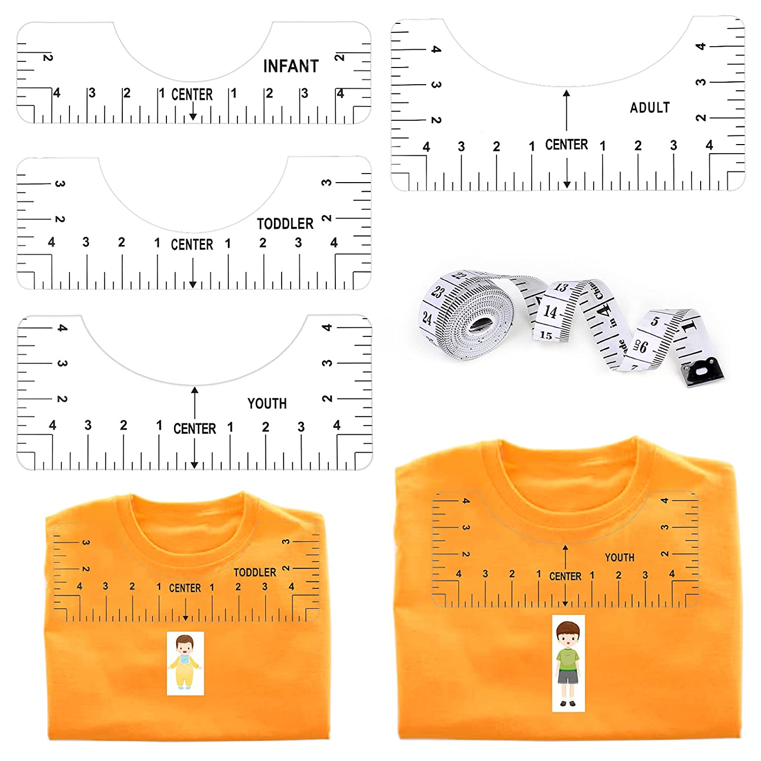 4Pcs T-Shirt Ruler Guide Fees free!! Alignment for Brand new