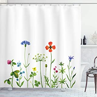 Ambesonne Floral Shower Curtain, Rural Meadow Flower Field with Blooms Spring Summer Botany Nature Country Image, Fabric Bathroom Decor Set with Hooks, 75 inches Long, Fern Green