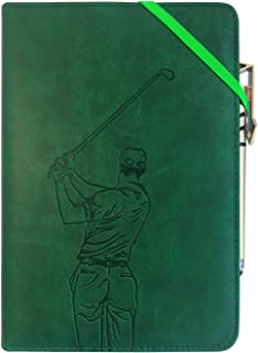 Leather Writing Journal Notebook Gift Set, YANGKUANG Premium PU Leather Lined Journals, Refillable, Gift for Writers and Travelers, Girls and Boys, Journal and Pen Set, A5 (Golf)