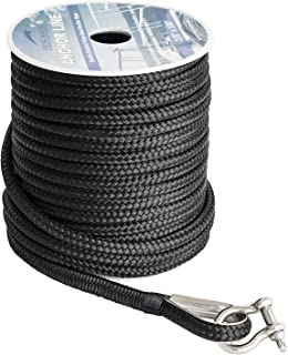 YOUNG MARINE Made 3/8 Inch 100FT 150FT Black Nylon Anchor Line Double Braided Anchor Rope/Line with Thimble