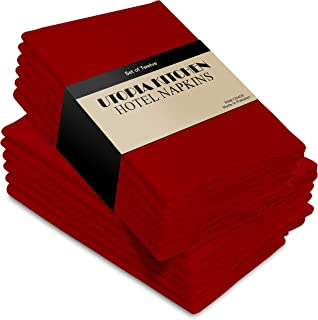 Cotton Dinner Napkins Red - 12 Pack (18 inches x18 inches) Soft and Comfortable - Durable Hotel Quality - Ideal for Events...