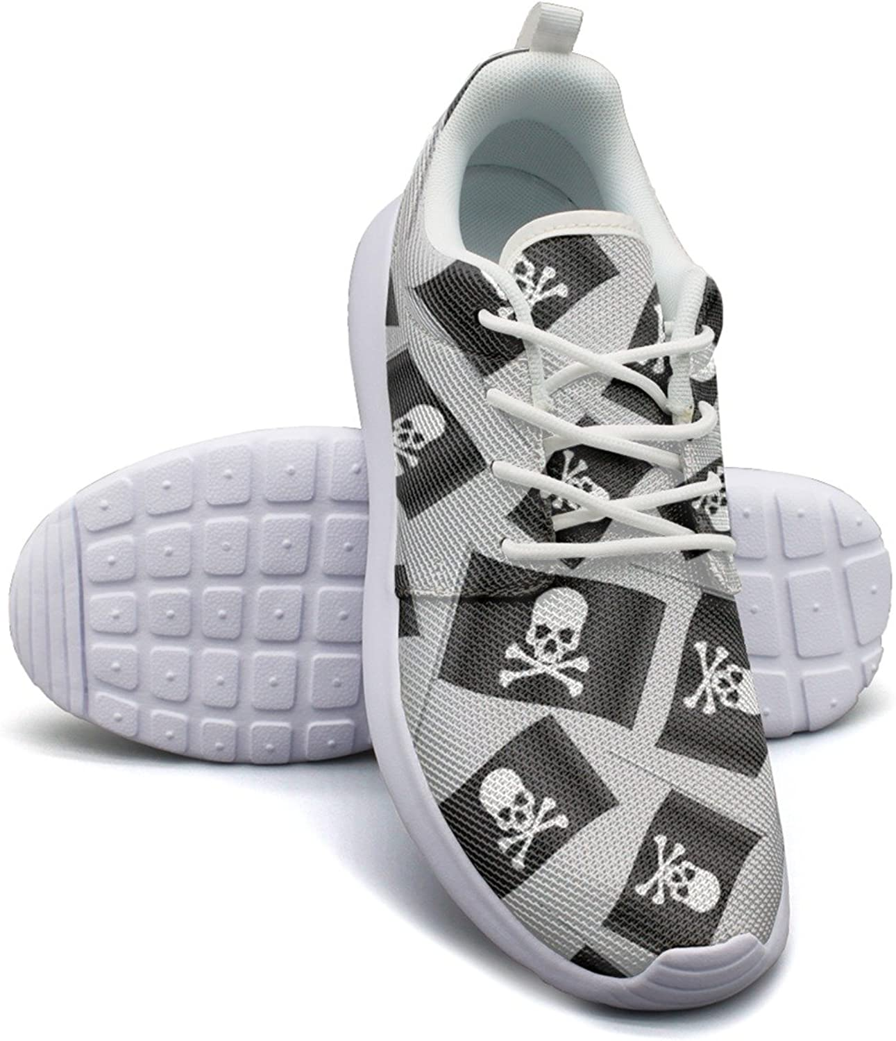 Black Small Pirate Flag with Skull and Bones Women's Lightweight Mesh Sneakers Popular Running shoes