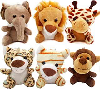 OuMuaMua 6pcs Jungle Animal Plush Toys Stuffed Animals Set - 4.8 Inch Cute Small Zoo Animals Plush Keychains for Kids Animal Themed Parties,Kindergarten Fun, Teacher Student Achievement Award