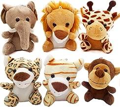 OuMuaMua 6pcs Jungle Animal Plush Toys Stuffed Animals Set - 4.8 Inch Cute Small Zoo Animals Plush Keychains for Kids Animal Themed Parties,Kindergarten Fun, Teacher Student Achievement Award