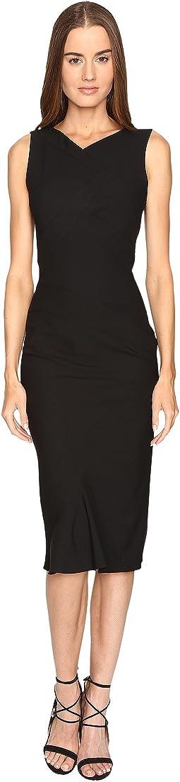 Stretch Cady Sleeveless Tea Length Dress