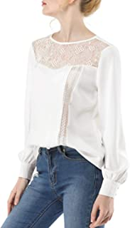 Women's Lace Insert Blouse Casual Crew Neck Long Sleeve Vintage Semi Sheer Top