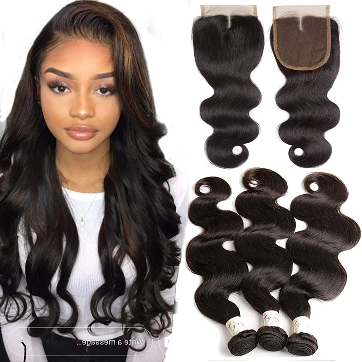 10A Grade Body Wave 3 Bundles with Closure Brazilian Human Hair Body Wave Bundles with Middle Lace Closure (12 14 16+10) 100% Unprocessed Virgin Hair Weave Extensions and Top Closure