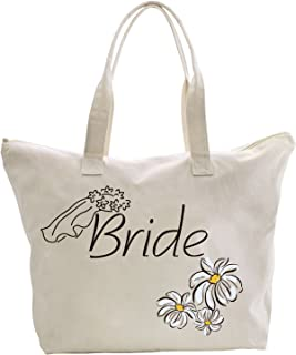 ElegantPark Mother of the Groom Tote Bag Daisy for Wedding Gifts Zip Cotton Large Off-white