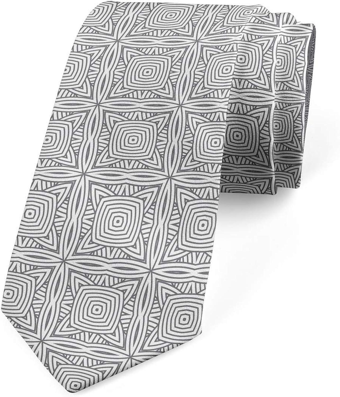 Ambesonne Men's Tie, Concentric Round Squares, Necktie, 3.7