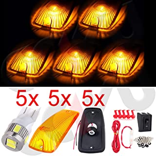 cciyu 5 Pack Amber Top Cab Roof Running Light Marker Lens with Base Housing +5x 6-5730SMD White Led Light +Wiring pack Replacement fit for 1988-2000 GMC C/K (Amber Lens White Light)