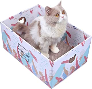 Vivaglory Cat Scratcher Box, Cardboard Cat Scratch Bed Scratching Pad Toy for Big Large Cats