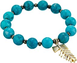LAUREN Ralph Lauren - Turquoise with Pave Feather Charm Beaded Bracelet