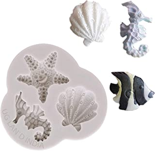 UG LAND INDIA Starfish Mould Cake Mould,Silicone Fondant Mould,Seahorse Shell Mould Chocolate Beach Starfish Conch Cookies...
