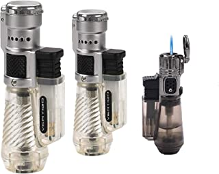 Vertigo by Lotus Cyclone Triple Torch Cigar Lighter Clear 2 Pack Plus Free Sigara Private Edition Torch Lighter
