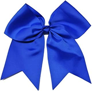 Kenz Laurenz Cheer Bows Blue Cheerleading Softball - Gifts for Girls and Women Team Bow with Ponytail Holder Complete Your Cheerleader Outfit Uniform Strong Hair Ties Bands Elastics