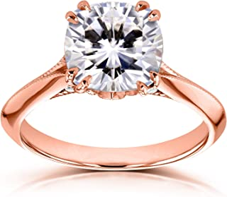 Moissanite (FG) and Diamond Engagement Ring 2 7/8ct TCW in 14k Rose Gold