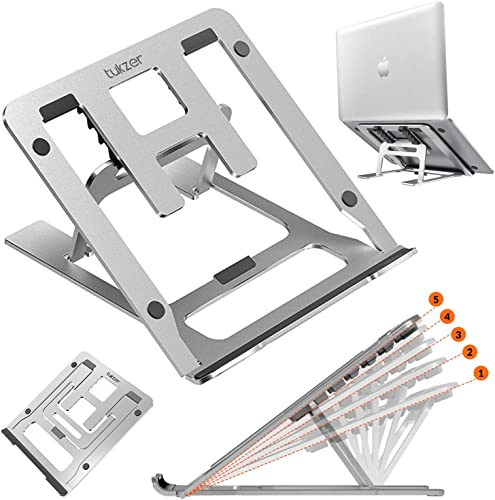 Tukzer Foldable Laptop Stand Lapdesks Aluminium 5 Angles Adjustments Portable Notebook Riser Stand Ventilation for Cooling Compatible with MacBook iPad Mobile Phone Upto 17 inches Laptop