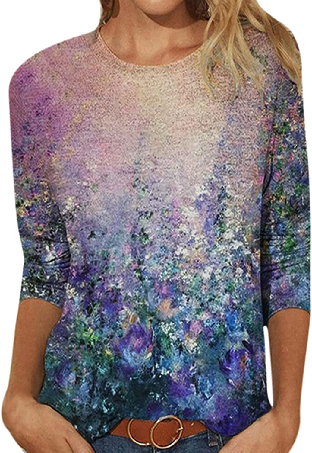3/4 Sleeve Tops for Women Fashion Crewneck Floral Print Tee Shirts Summer Vintage Pullover Loose Comfy Plus Size Blouse