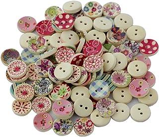 comprar comparacion 100pcs Colores Pintados Botones De Madera Redonda De Bricolaje Para La Costura Y Elaboración