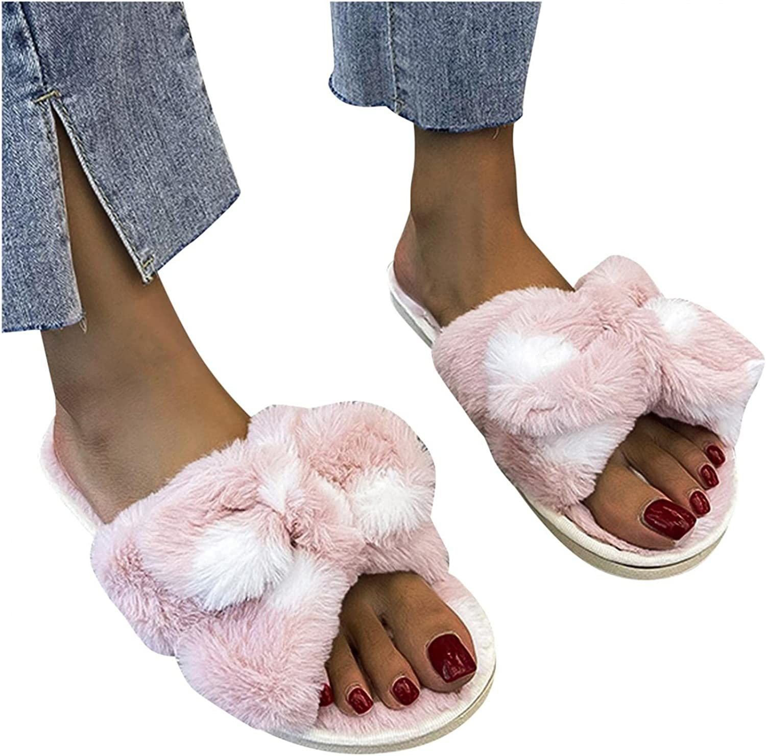 Gibobby Slippers for Women,Women's Fashion Memory Foam Open Toe House Slippers Fuzzy Bowknot Slip On Indoor Outdoor House Shoes