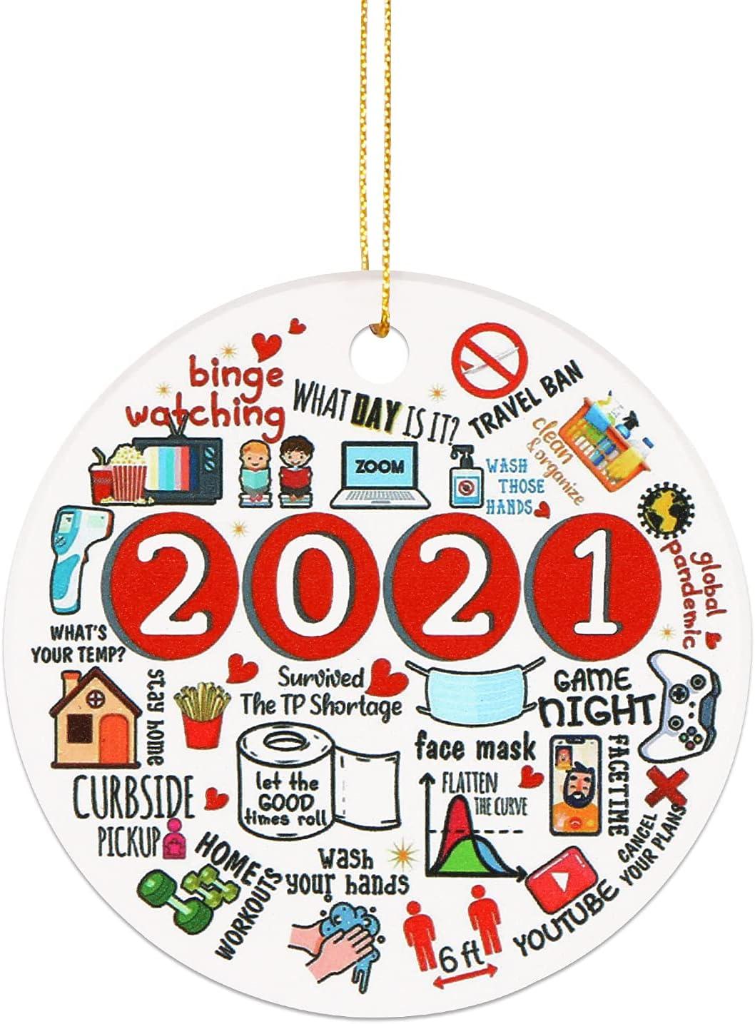 2021 Ceramic Covid Commemorative Christmas Orn 5 ☆ very popular Pandemic Ornament Max 56% OFF