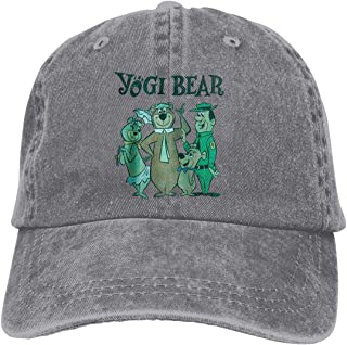 Riyuekong Adult Hats Yogi Bear Unisex Fashion Plain Cool Adjustable Denim Jeans Baseball Cowboy Cap Gray