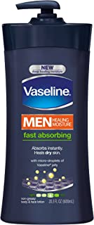 Vaseline Men Healing Moisture Fast Absorbing Body & Face Lotion, 20.3 fl oz