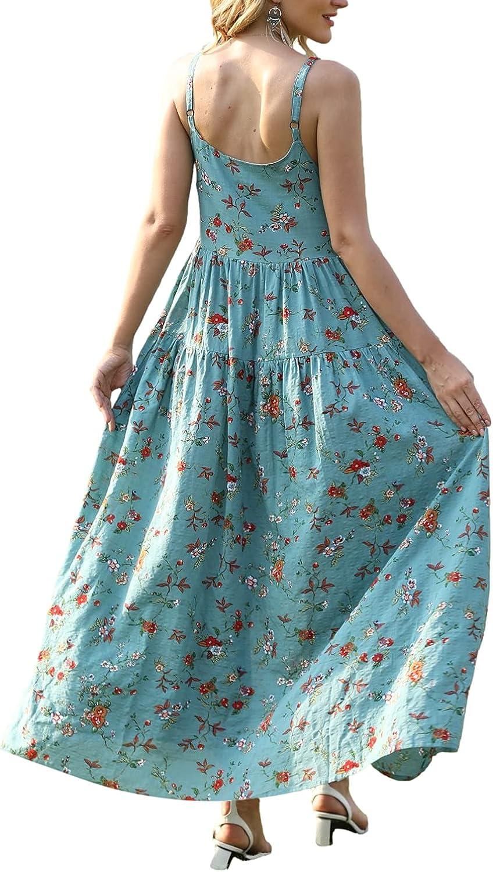 YESNO Women Casual Loose Bohemian Floral Print Dresses Spaghetti Strap Long Summer Beach Swing Dress XS-5X E75