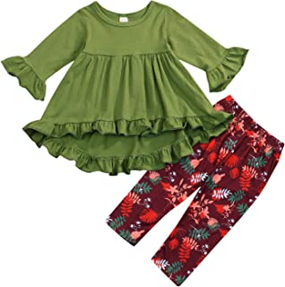 SEVEN YOUNG Baby Girl Clothes Ruffle Outfits Long Sleeve Irregular Shirt Tops+Floral Pants for Girls 1-6T Orange/Green