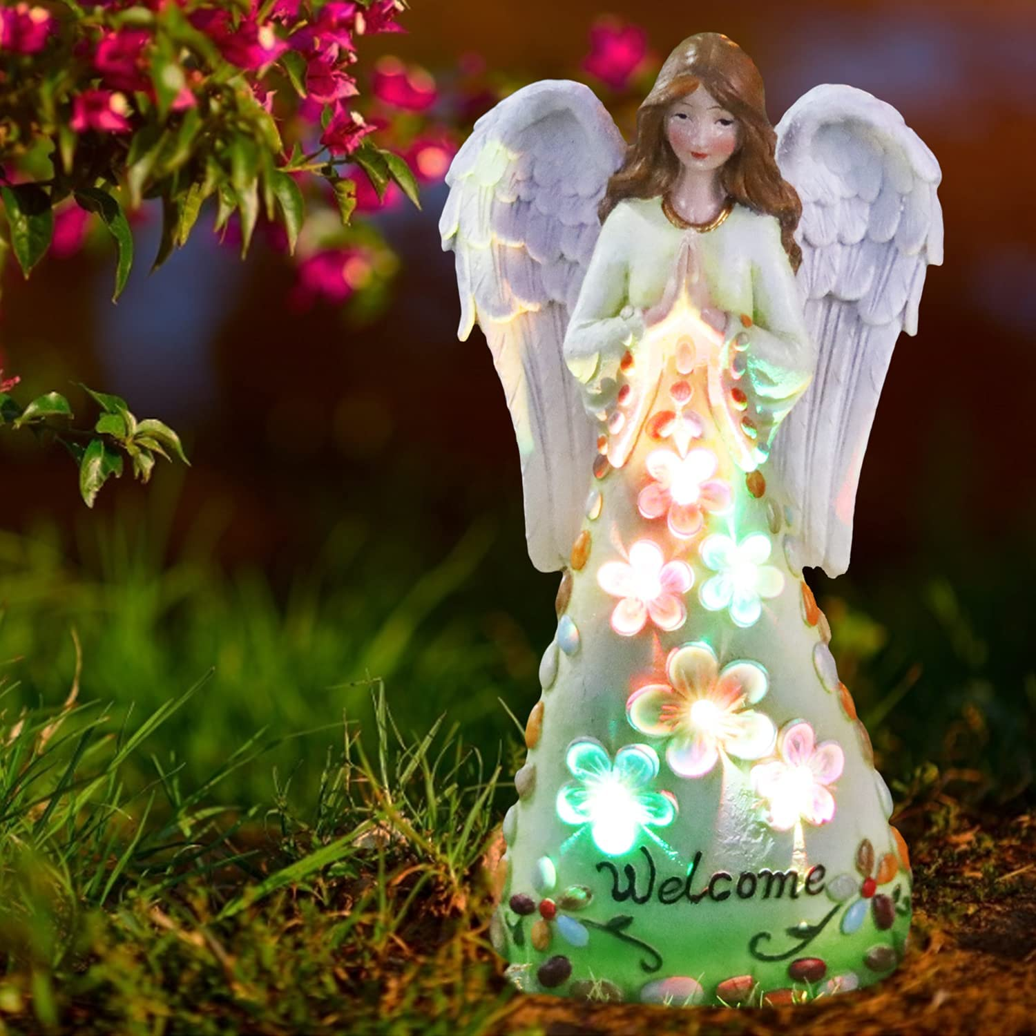 Solar Garden Light Outdoor Angel with Changing Challenge the lowest price of Purchase Japan ☆ Colour L Statues