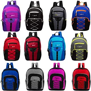 """24 Pack - 17"""" Mixed Bulk Backpacks (12 Assorted Styles) - Wholesale Case of Bookbags"""