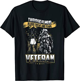 Vintage Through Mud Blood Sweat And Tears Veterans Day T-Shirt