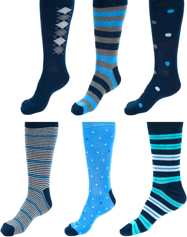 Alberto Vita Mens Dress Socks – 6 Pack Fun Colorful Calf Socks (Size 8-14)
