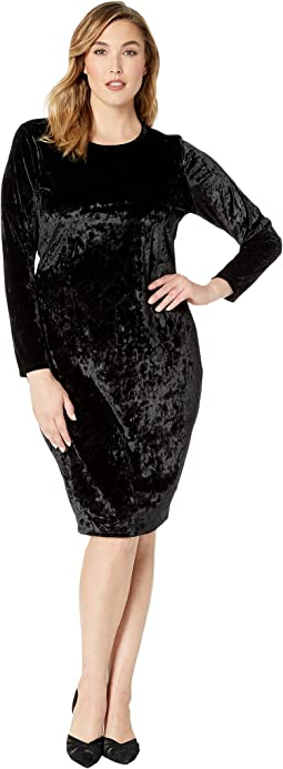 Plus Size Panne Velvet Crew Long Sleeve Dress