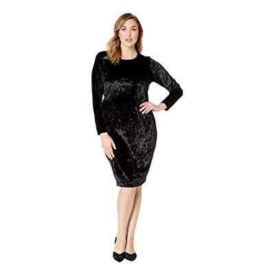 MICHAEL Michael Kors Plus Size Panne Velvet Crew Long Sleeve Dress (Black) Women