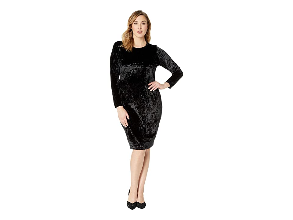 MICHAEL Michael Kors Plus Size Panne Velvet Crew Long Sleeve Dress (Black) Women