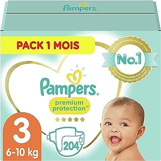 Pampers Couches Premium Protection Taille 3 (6-10kg) notre N°1 pour la protection des peaux sensibles, 204 Couches (Pack 1...