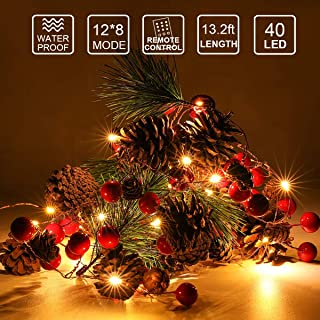 TROPICALTREE Christmas Pine Garland with Led Lights, Nature Pine with Red Berry, 13.2foot 40 LED Strip with Remote Control and Waterproof Waterproof Battery Box, Home Decoration for Indoor or Outdoor
