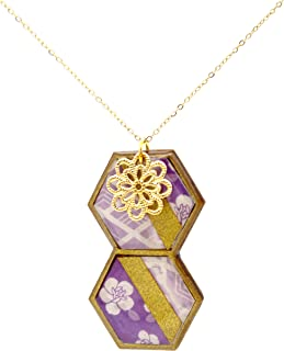 Purple Japanese Pattern Two Vertical Beehive Shaped WOODEN Necklace with Gold Flower Charm (K-Blossoms)
