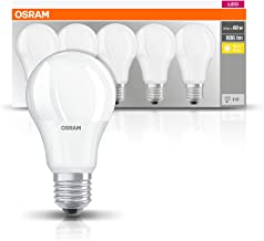 Osram LED Lamp/E27 Base/Warm White (2700 K)/Replaces 60 W Incandescent Bulbs/8.50 W/Frosted/LED Base Classic A, Pack of 5