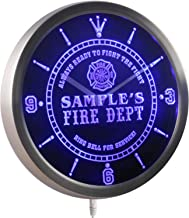 ADVPRO ncqy-tm Name Personalized Custom Firefighter Fire Department Neon Sign LED Wall Clock
